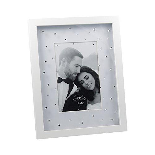 Portrait Bilderrahmen mit Strass-Steine weiß matt lackiert ca. 19x24 cm für Fotos 10x15 cm