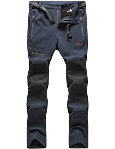 BenBoy Pantalones de Montaña Hombre Impermeables Invierno Calentar Pantalones Trekking Escalada Senderismo Softshell,KZ1672M-Blue-S