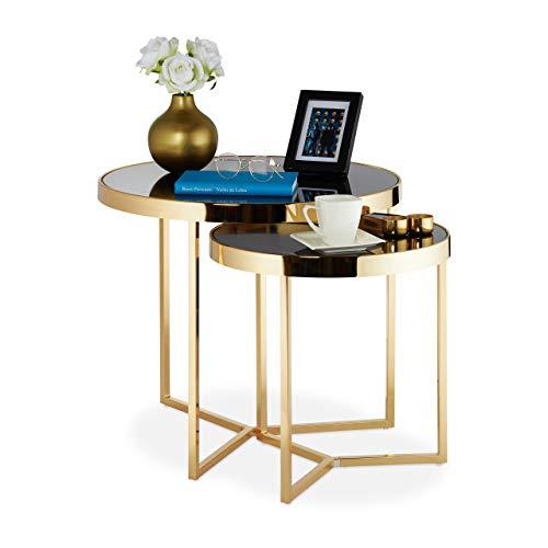 Relaxdays 2X Set di Tavolini da Salotto, 2 Tavoli, Piano in Vetro Rotondo, Gambe in Acciaio HxD 52x60 & 45x45 cm, Nero/Oro, pz