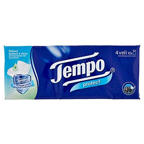 Tempo Taschentücher Protect mit Antibakteriell - 4-lagig - 10 Packungen