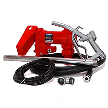 XtremepowerUS 12 Volt DC 20GPM Gasoline Fuel Transfer Pump Self-Priming Kerosene Extractor Pump with Nozzle Kit and Hose
