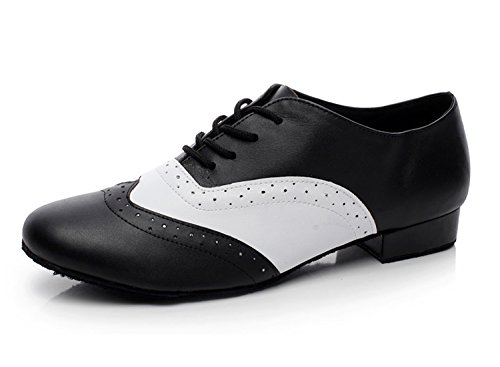 "Minishion Dancing Shoes for Men 1"" Standard Heel Black/White Leather Ballroom Dance Shoes US 12"