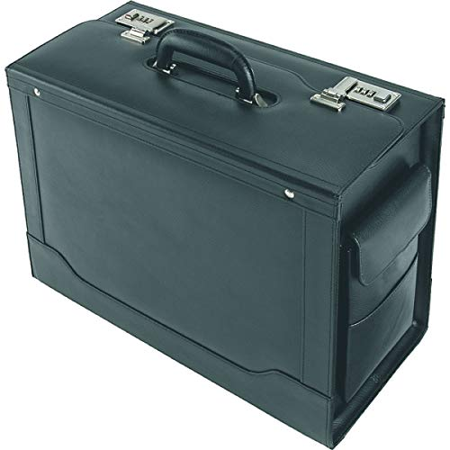 Alassio pilotenkoffer ANCONA, aktekoffer van echt leer, handbagage documentenkoffer met hangmappen, koffer, 45 cm, 32 liter, zwart