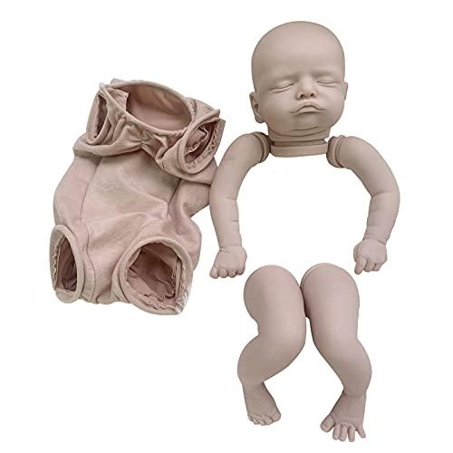 Denpetec 19inch Reborn Baby Doll Kit,DIY Doll Making Supplies Full Limbs Unpainted Vinyl Head Soft Simulation Reborn Baby Doll Kit,for Birthday Present, Children Playmates