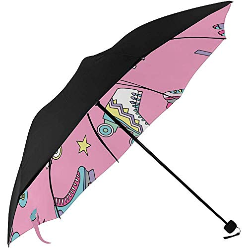 Umbrella Boys Sports Rollschuhschuhe Unterseitendruck Winddichter Kompaktschirm Unzerbrechlicher Regenschirm Kompakter Reise-Sonnenschirm