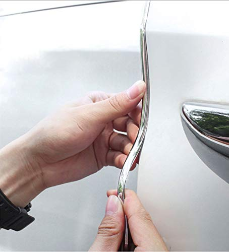 Car Door Edge Guards16FT(5M) Clear U Shape Trim Molding Electroplated Glossy Rubber Seal Protector with Fits Most Cars(electroplated Silver)