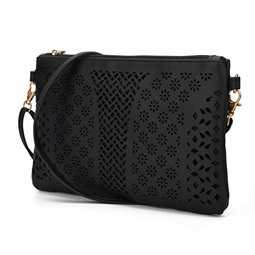Jiaruo Vintage Girls Hollow Out Sling Leather Crossbody Bag Handbag Purse (black 2)