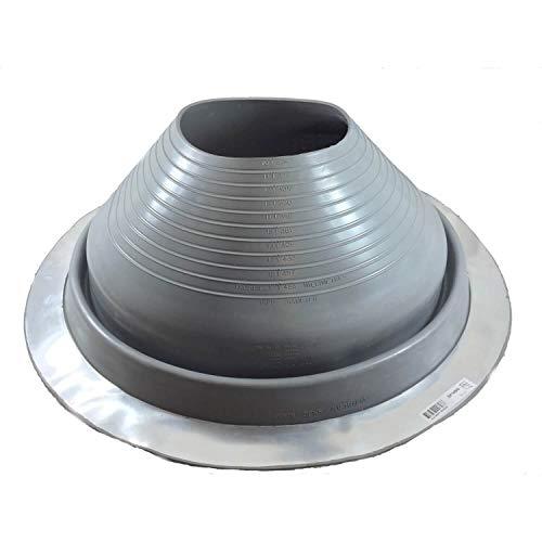 """DEKTITE Round Base Metal Roofing Pipe Flashing Boot: #9 (DF109G) Gray EPDM Flexible Pipe Flashing Dektite (for OD Pipe Sizes 10"""" - 18"""") - Metal Roof Jack Pipe Boot - Metal Roof Flashing"""