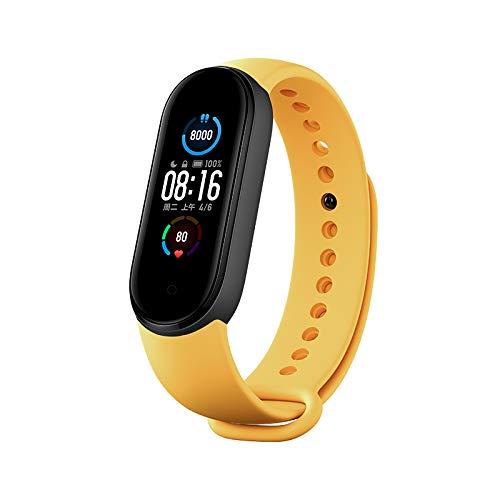 Xiaomi Mi Band 5 - Pulsera de fitness con pantalla AMOLED de 1,1 pulgadas, modo deportivo, 24 h, frecuencia cardíaca, monitor del sueño, 50 m, resistente al agua (correa 5 + correa amarilla original)