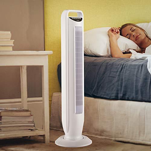 Seville Classics UltraSlimline Oscillating Tower Fan, White