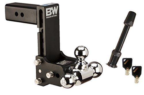 "TruckProUSA B&W TS20049B Tow & Stow Receiver Hitch Tri-Ball with 2.5"" Shank - 7"" Drop / 7.5"" Rise Plus 5/8"" Black Receiver Lock"
