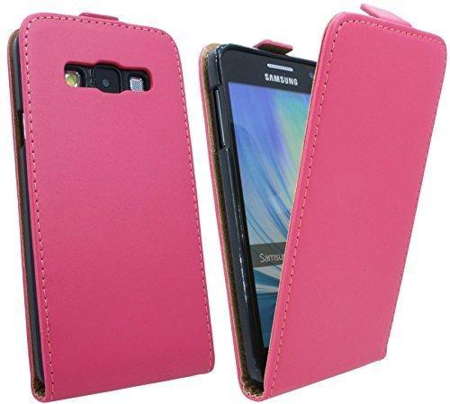 ENERGMiX Handytasche Flip Style kompatibel mit Samsung Galaxy A3 (A300F) in Pink Klapptasche Hülle