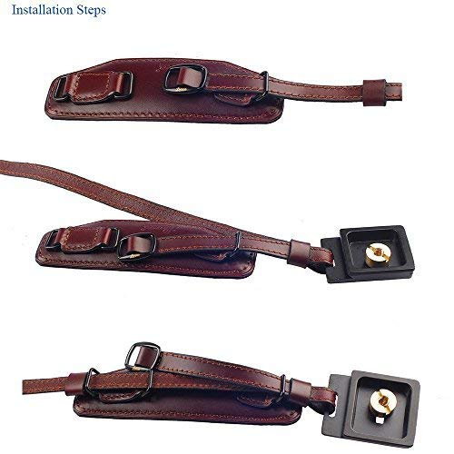 IMZ Leather Hand Grip, Beautiful Crafted & Unique Handmade Wrist Strap + Quick Release Plate for SLR DSLR Cameras: Nikon Canon Sony Pentax Olympus Panasonic - E6 Wine