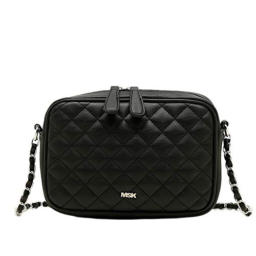 MISAKO Bolso CACAO Negro | Bolso Pequeño con Cadena - Bolso Bandolera Acolchado Negro perfecto como bolso de Noche - 6x22x16 cm