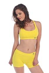 Kurve Dancewear Racerback Athlete Bra Top Women's Yellow