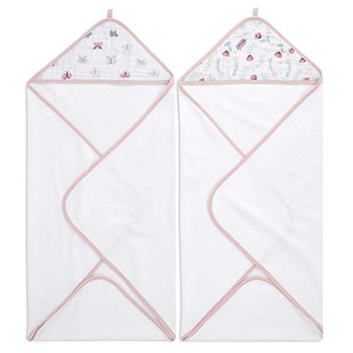 aden + anais™ essentials - Pack de 2 capes de bain à capuche en éponge prélavée 100% coton - Capuche en mousseline 100% coton - Douce - Pratique - Garçon - Fille - Imprimé Floral Fauna - 90 cm x 90 cm