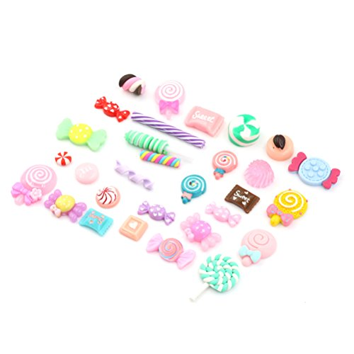 60Pcs Mix Lots Resin Flatback Lollipop Fruit Candy Gummy Food Charm Art Album Flat Back Phone Scrapbooking Hair Clip Hairpin Sewing DIY Craft Accessory Jewelry Decoration Dollhouse Ornament