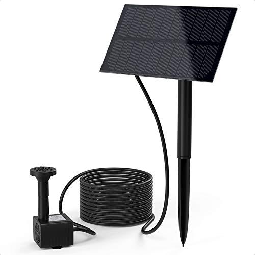 Ankway Bomba para Fuente Solar Exterior 1,5W Bomba Agua Solar con estaca de Tierra y 7 boquillas Diferentes, Bomba Solar para Estanque Cascada Jardin recirculacion Agua Piscina