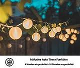 CozyHome LED Lampion Lichterkette außen mit Timer - 7 Meter   Mit Netzstecker NICHT batterie-betrieben   auch für Innen   20 LEDs warm-weiß   Kein lästiges austauschen der Batterien   LED Lampions - 5