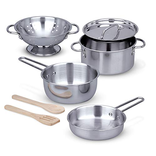 Melissa & Doug Stainless Steel Pots & Pans Play Set
