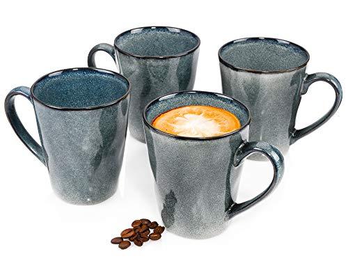 Sänger KaffeebecherDarwin aus Steingut4teilig-Füllmenge Becher 800 ml-Geschirrset in Vintage-Optik für 4 Personen– feine Maserung für besonderen Look