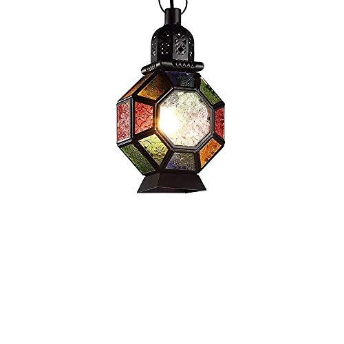 Kroonluchter E27 plafondhanglamp Zuidoost-Aziatische kroonluchter kleurrijke Marokkaanse glazen lantaarn kroonluchter vintage vogelkooi design voor bruiloft festival decoratie gesmeed huishoudverlichting