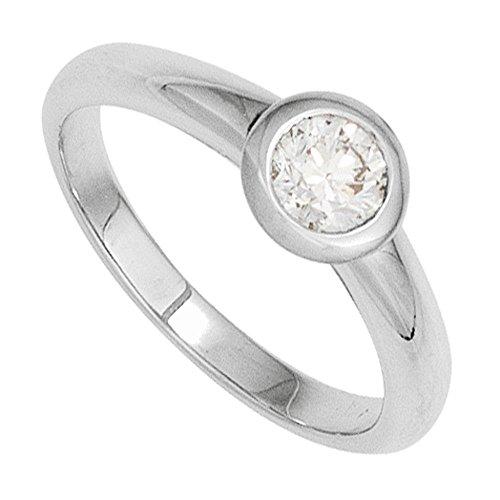 JOBO Damen Ring 585 Gold Weißgold 1 Diamant Brillant 0,25ct. Goldring Größe 56