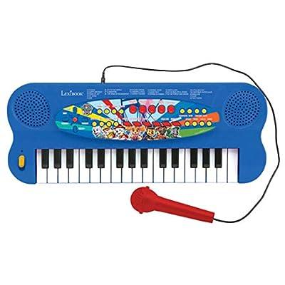 LEXIBOOK- Paw Patrol Teclado electrónico, Piano de 32 Teclas, Micrófono para Cantar, 22 Canciones de demostración, operado con batería, Azul/Rojo de Lexibook