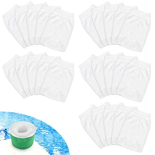 Kulannder 25Pcs Pool Skimmer Socken Skimmer Korb Filter Nylon Stoff Pool Skimmer Socken Filter Socken Schwimmbad für Filter Skimmer Korb,Blätter,Insekten, Abschaum