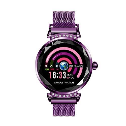 GLEMFOX Vrouwelijke smartwatch hartslagmeter slaapmonitor Smart Brace stappenteller calorieënteller waterdicht IP67 kleurendisplay oproepen, sms-alarm, iOS en Android paars