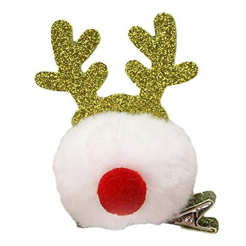Haarnadel , Exquisite Romantische Haarspange Kaninchen Nerz Haarball Geweih Haarnadel Weihnachten Kopfschmuck Weihnachtsmädchen Haarnadel Haarspange | Weiß