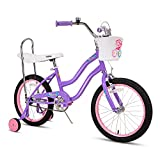 JOYSTAR 18 Inch Kids Cruiser Bike 18' Wheels for Girls Ages 5-9 Years Kids Bicycle with Handbrake and Coaster Brakes Classic Frame Shape with Low Stand-Over Height Kickstand Included Purple