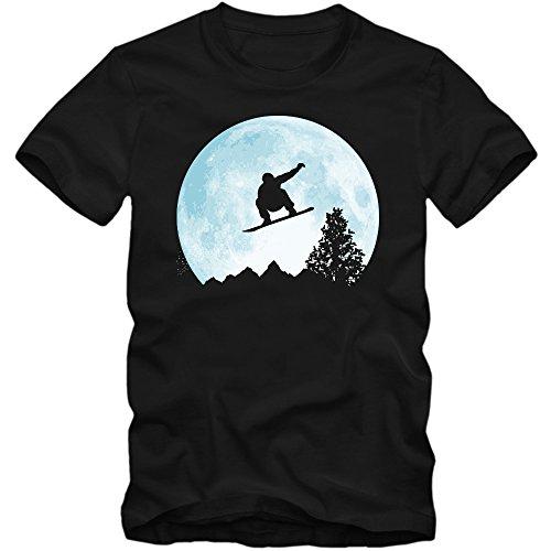 Snowboard Vor Dem Mond T-Shirt Wintersport Snowboarden Schnee Après Ski Herrenshirt, Farbe:Schwarz (Deep Black L190);Größe:M