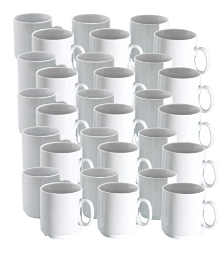 Van well lot de 36 tasses à café - 28 cl porcelaine professionnel empilable blanc