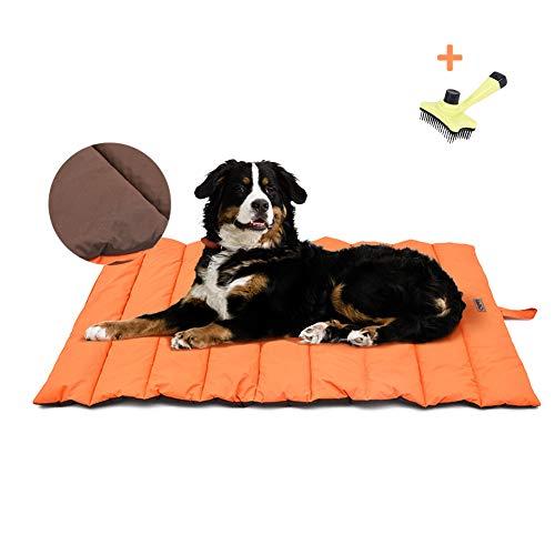 XIAPIA wasserdichte Hundematte für Outdoor mit Bürste, Waschbares Hundebett, Antistatik, Hygienisch, Faltbar, Große Reisedecke für Haustier 110 x 68 cm (Orange/Braun)