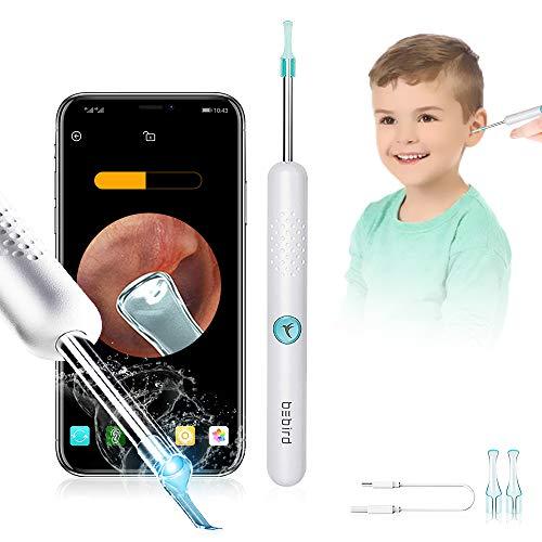 BEBIRD R1 Otoskop-Ohrreiniger Mensch, Endoskop-Ohrenschmalz-Entfernungswerkzeug mit LED-Licht & 1080P FHD-Kamera, Safe Ear Pick Kit für iPhone, iPad & Android-Smartphones (Weiß)