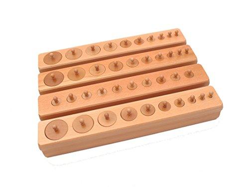 pinkmontessori New Premium Montessori sensorial Beechwood Knobbed Cylinder Blocks