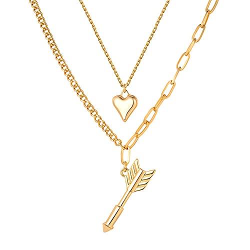 N/A Collar Collar Unisex Minimalista De Acero Inoxidableperfora El Corazón con Una Flecha El Colgante De Moda Todo Fósforo No Se Desvanece