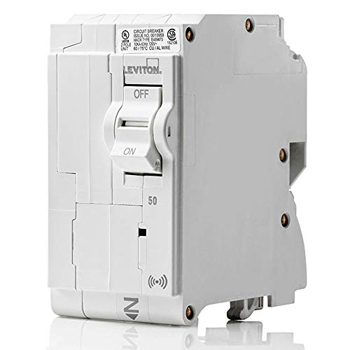 Leviton LB250-S 50 Amp, 2-Pole Plug-on Smart Standard Branch Circuit Breaker, 120 VAC, White