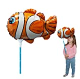Ballooniacs - Clown Fish Balloon. Air Filled Animal Balloon from Deluxebase. Inflatable Balloons with 35cm Recycled Card Rod. Perfect Inflatable Kids Birthday Party Decoration.
