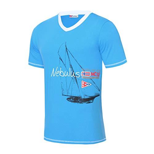 Nebulus T187 - T-Shirt AHOI (Model: Q2181 - Herren, Malibu_blau; Größe: L)