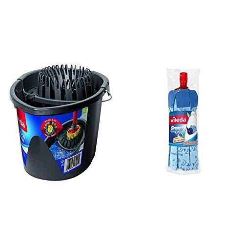 Vileda Wring & Go - Cubo Patentado para un escurrido más fácil, Color Gris, 48 x 29 x 39 cm + Super fregona Azul, Diseño Rincones, 1 fregona