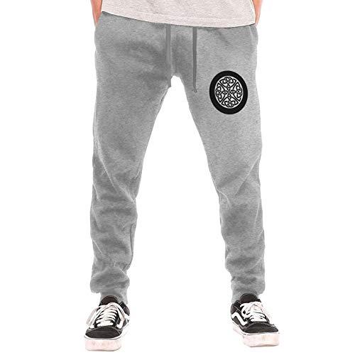 Celtic Cross Knot Irish Shield Warrior Men's Jogger Sweatpant Pockets Sport Cotton Fleece Pants for Workout Gray