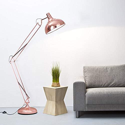 Lightbox - Lámpara de pie (tamaño grande, diseño retro, cobre pulido, 1,8 m de altura, 1 portabombillas E27, con interruptor de pie)