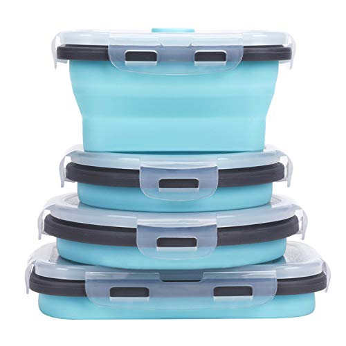 Collapsible Silicone Food Storage Containers with Airtight Lids, Set of 4 Stacking Container for Kids,Microwave and Freezer and Dishwasher Safe, with Vent Valve, BPA Free (350ml and 500ml)