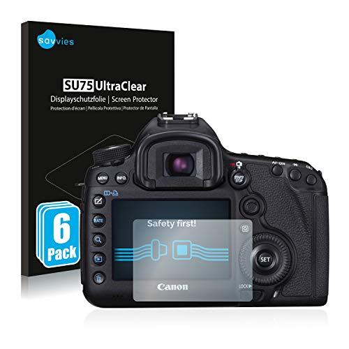 savvies Protector Pantalla Compatible con Canon EOS 5D Mark III (6 Unidades) Pelicula Ultra Transparente