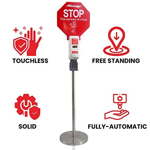 Neilsen Distributore Automatico di Gel Igienizzante Idroalcolico - Colonnina con Dosatore Disinfettante Mani - Dispenser Touchless - Struttura di 1,2 m Acciaio Inossidabile - Funziona a Pile