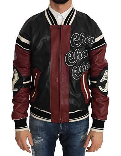 Dolce & Gabbana - - All - Dolce & Gabbana Leather Club Lounge Black Red Jacket - IT44   XS
