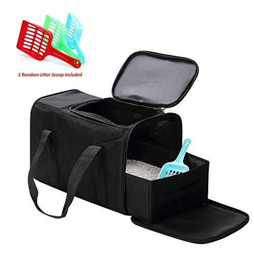 Petleader Faltbare tragbare Katzentoilette, schwarz, für Reisen, leicht, faltbar, Portable litter box, Schwarz