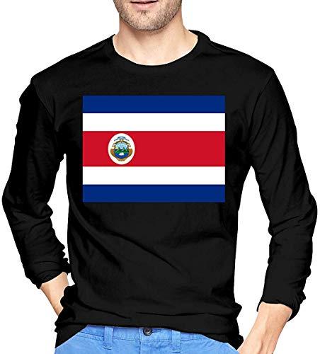 Costa Rica Flag Camiseta de Manga Larga para Hombre Camisas de algodón con Cuello Redondo